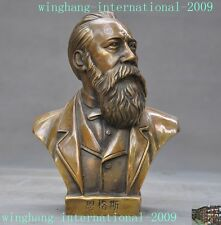 Chinese Bronze Germany Thinker philosopher revolutionist Engels Head Bust statue