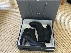 Mint Velvet, black Mila Biker ankle Boot, platform, size 6