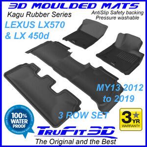 Fit Lexus LX570 & LX450d 2013-20 3D Kagu Black Rubber car floor mats 3Row