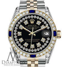 Rolex 36mm Datejust 2 Tone Black String Accent Dial with Sapphire & Diamond