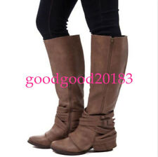 Womens Boots For Buckle Riding Thick Heel Winter Zipper Shoes Knee High Belt Zip