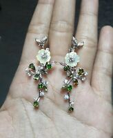 DELIGHT NATURAL CHROME DIOPSIDE TOURMALINE MOP. CZ -STERLING 925 SILVER EARRING