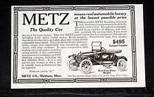1914 OLD MAGAZINE PRINT AD, METZ ROADSTER AUTOMOBILE, NEW FORE-DOOR MODEL, $495!