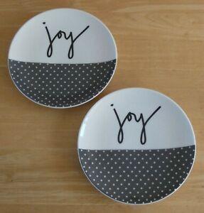"""Pair Of Royal Doulton Ellen Degeneres 6.25"""" Grey Joy Side Plates (BNWOT)"""