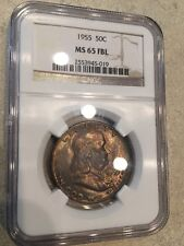 1955-P Key Franklin Half Dollar NGC MS 65 FBL Bronze Toning Free Ship USA !!