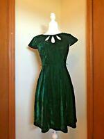 Modcloth Emerald Green Velvet A-Line Dress Size S Small