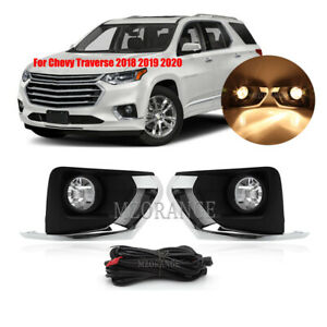 Fog Lights Lamps Chrome Bracket For Chevy Traverse 2018 2019 2020 Wiring Switch