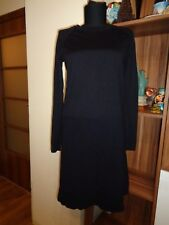 COS VERY DARK INDIGO 100%MERINO WOOL KNITTED PANELED TUNIC DRESS-SIZE XS