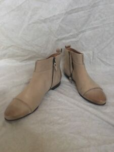 Modern Vintage Ima Antelope Beige Suede Booties, Women's Shoes, Size 8.5M