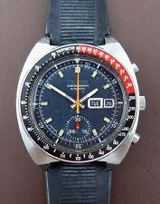 Vintage Seiko 6139-6002 Black Pogue Automatic Men's Chronograph Wristwatch 1975