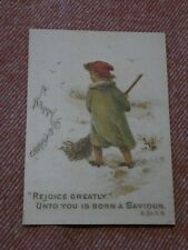 MILDMAY DEACONESS WORK VINTAGE RELIGIOUS CHRISTMAS CARD CHILD SWEEPING SNOW
