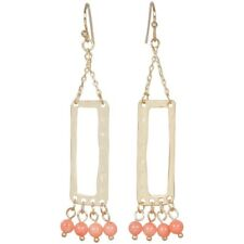NEW Coral Fringe Beaded and Matte Goldtone Rectangle Outline Dangle Earrings