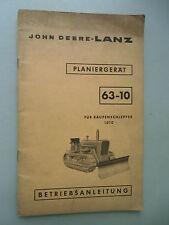 John Deere-Lanz Planiergerät 63-10 für Raupenschlepper 1010 Betriebsanleitung