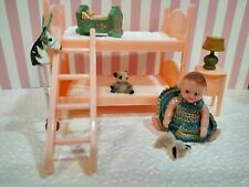 Best BUNK BED SET #55 w/Renwal BABY # 8 Vintage Miniature Dollhouse Furniture