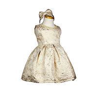 NEW Girls BABY FORMAL Dress Winter Jacquard Princess Golden Kids Dress SIZE 3-12