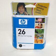 HP 26 Inkjet Print Cartridge Black New 51626A Genuine Printer Ink Factory Sealed