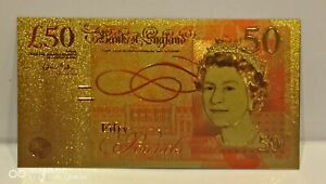 Type Two Collectable Gold Plated Gift Novelty Old Type Fifty Pound Banknote