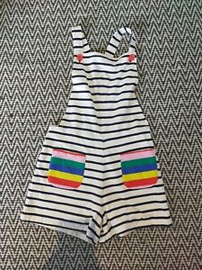 GIRLS AGE 9-10 BODEN JERSEY SHORTS DUNGAREES NAUTICAL STRIPED RAINBOW PLAYSUIT