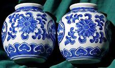 CHINOIS 2 vases bleu/blanc, forme GLOBE, paysage,fleur lotus, bordure ruyi 12cm