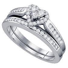 WOMENS HEART SHAPE DIAMOND ENGAGEMENT PROMISE HALO RING WEDDING BAND BRIDAL SET