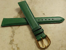 New Made in France Green Genuine Leather 16mm Watch Band Gold Tone Buckle $19.95