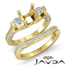 Round Diamond 3 Stone Engagement Ring Bridal Set 14k Gold Yellow Semi Mount 1.5C