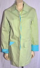 LILLY PULITZER S green blue cuffs Trench Overcoat Raincoat Jacket Small FAB