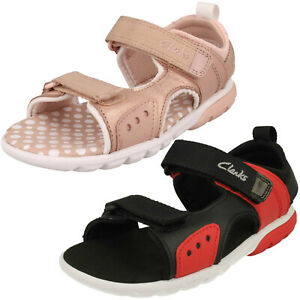 GIRLS BOYS CLARKS ROCCO TIDE K HOOK & LOOP KIDS CASUAL SUMMER SANDALS BEACH SIZE