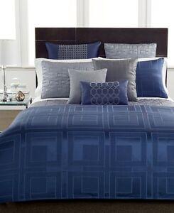 Hotel Collection Bedskirt Quadre Blue California King Bedskirt