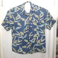 Banana Cabana Men's Shirt Hawaiian floral 100% Silk Short Sleeve Size L(A9)