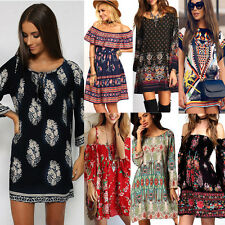Vintage Women BOHO Floral Printed Casual Party Mini Dress Summer Beach Sundress