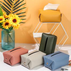 PU Leather Dispenser Tissue Case Paper Towel Box Storage Cover Napkin Paper Bag@