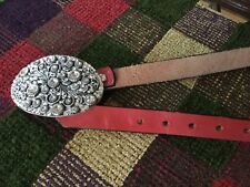 Flagstaff AZ BELT Co Womens Silver SEQUINED Oval Buckle RED LEATHER Handmade 34""
