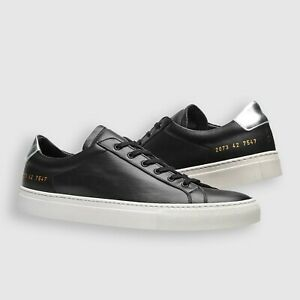 COMMON PROJECTS ORIGINAL ACHILLES LOW BLACK/WHITE LEATHER SNEAKERS SHOES 42 SALE