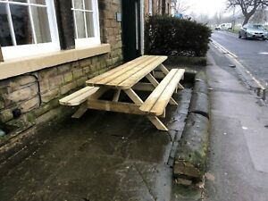 Heavy Duty Garden Picnic Table / Pub Bench 3.6m/12ft *NO Self Assembly required*