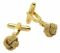Gold-Tone Mens Cuff Links Classic Love Double Knot Cufflinks