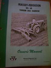 VINTAGE MASSEY FERGUSON OPERATORS MANUAL - MF  # 68 DISC HARROW - 1958