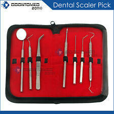German Dental Scaler Pick Stainless Steel Tools With Inspection Mirror Set 7 Pcs