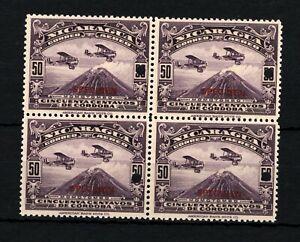 NICARAGUA AIR MAIL Stamps 1929 50c Mountain Biplane SPECIMEN Block{4} MNH SS2731