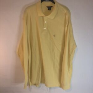 BROOKS BROTHERS Yellow Cotton 346 Performance POLO Long Sleeve Shirt XL Tall