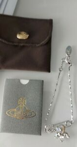 **NEW VIVIENNE WESTWOOD MOTHER OF PEARL DIAMONTE SAFETY PIN BRACELET *RARE**