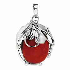 Oval Red Coral Vintage Style .925 Silver Pendant
