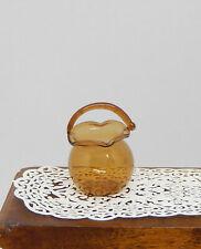 Vintage Blown Glass Basket Artisan Dollhouse Miniature 1:12