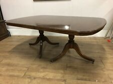 Large Reproduction 1 Leaf Extending Twin Pedestal Dining Table