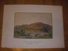 Antique 1891 Scottish watercolor landscape bridge over Carmich Scotland signed