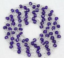 10 Feet Beautiful Natural AMETHYST Gemstone Bead Silver Plated Rosary Chain Sale