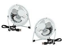 2x Mini USB Tilting Desktop Cooling Fan Metal Shell & Aluminium Blades - White