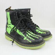 Dr. Martens Boy's Black/Green Leather Delaney Skeleton Boots Size 4