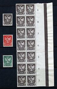 Indonesia #359-361 (IN137) Plus block of 14, MNH, FVF, CV$155.00