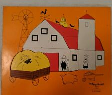 Vintage Barn Farm Wood Puzzle Playskool jigsaw 15 pieces preschool 1970's